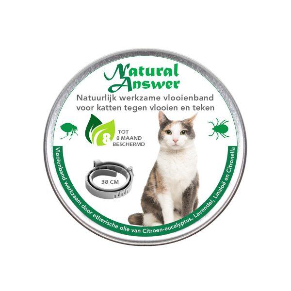 Natuurlijke vlooien- en tekenband voor katten werkzaam op natuurlijke basis
