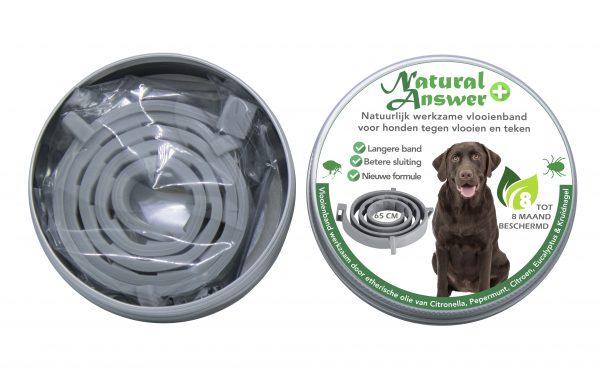 Natuurlijk werkzame vlooien- en tekenband voor honden van Natural Answer - vooraanzicht, doos open